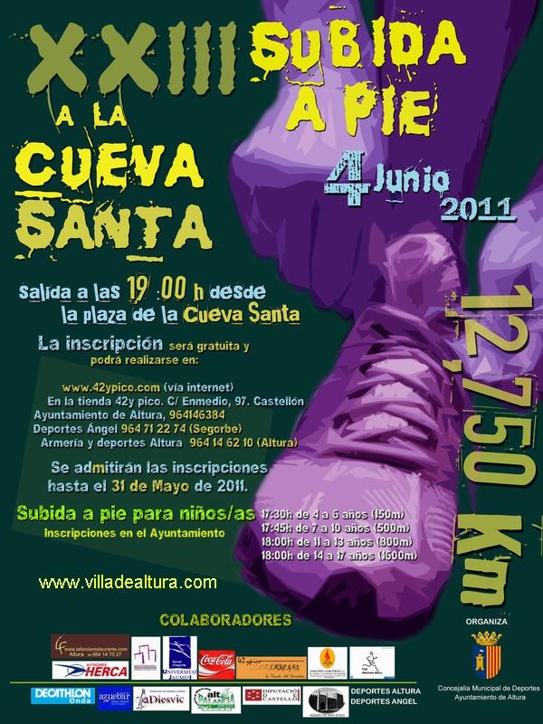 CartelSubida a Pie Cueva Santa-Altura 2011