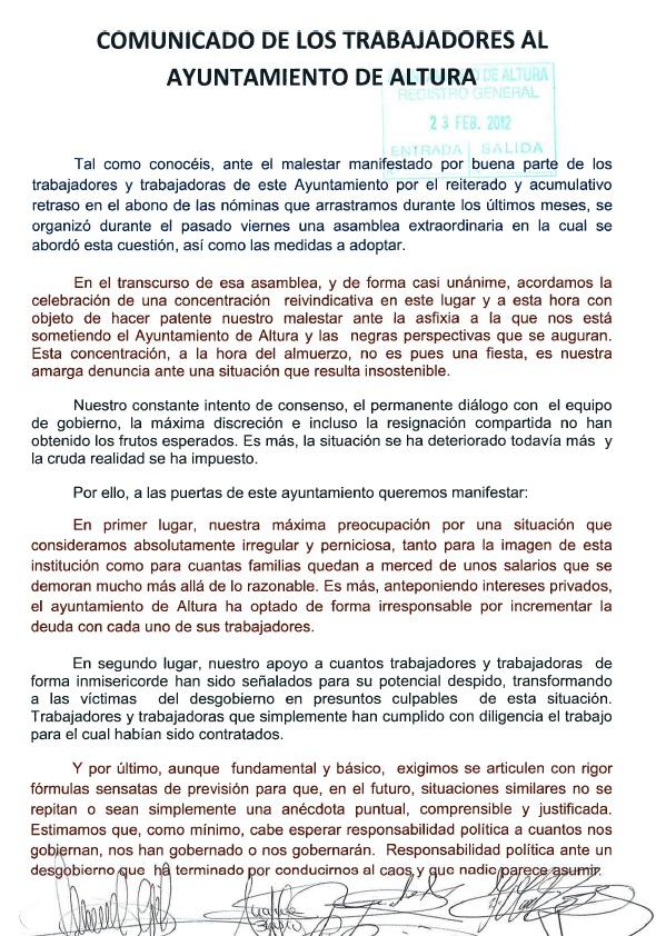 Comunicado emitido en el día de ayer por los trabajadores del Ayuntamiento de Altura 23-02-2012